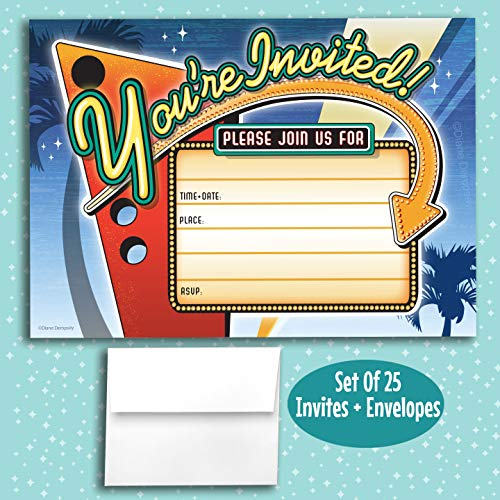 Vintage Neon Sign Fill in Invitations, 25 Invites with Envelopes. Retro Style is Great for Birthday, New Years, Movie Night, Cocktail Party, Casino Night, Bachelorette, Oscars Party, Hollywood Party. -