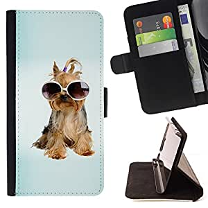 Momo Phone Case / Flip Funda de Cuero Case Cover - Yorkshire Terrier perro de perrito de las gafas de sol; - Apple Iphone 5 / 5S
