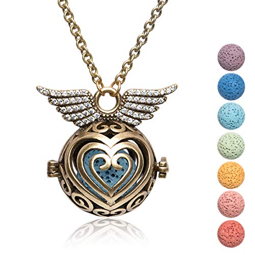 Kayder Retro Bronze Angel Wing Filigree Heart-Shaped Locket Essential Oil Diffuser Aromatherapy Pendant Necklace with 7 Color Yoga Chakra Lava Rock Bead Inserts, 20