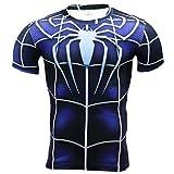 Mens Superhero Spider Man Compression Fitness Gym Running Tee Shirt Blue M