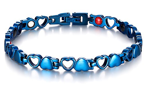 Blue Magnetic Therapy Bracelet Titanium Stainless Steel Link Chain for Womens Arthritis and Joint Pain