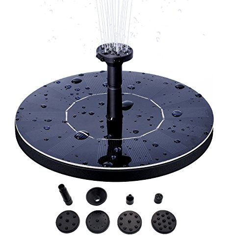 Solar Bird Bath Fountain Pump, 1.5W Upgrade Version Solar Bird Bath Fountain Pump, Free Standing Floating Outdoor Solar Powered Panel Kit for Garden, Pond, Pool, PatioDecoration&Watering, - Floating Fountain