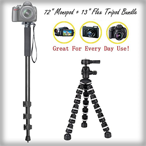 "Versatile 72"" Monopod + 13"" Rugged Flexible Tripod Bundle for Nikon D2X - Portable Tripod, Flexible legs Camera Support"