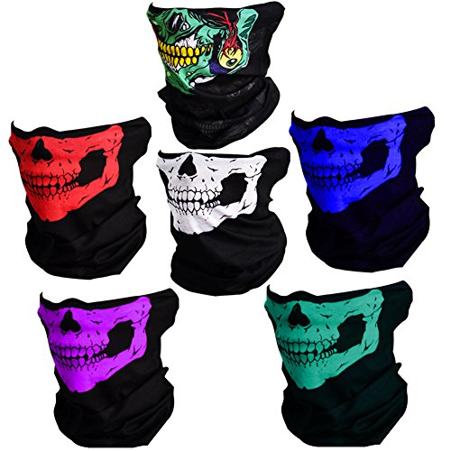 (CIKIShield Couples Seamless Skull Face Tube Mask Black (6pcs-Color)