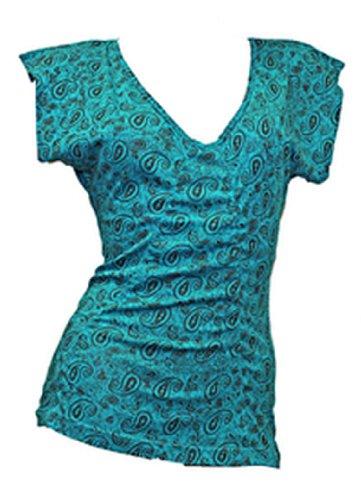 Damen Trendy V-Neck Longshirt, T-Shirt, Paisley, türkis/schwarz, aus 100 % Baumwolle