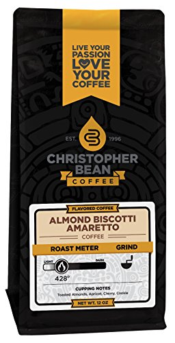 Amaretto Flavored Coffee Beans - Christopher Bean Coffee Flavored Ground, Amaretto Almond Biscotti, 12 Ounce