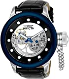 Invicta Men's 'Russian Diver' Automatic Stainless Steel and Leather Casual Watch, Color:Black (Model: 24596)