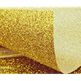 YELLOW GOLD GLITTER HEAT TRANSFER VINYL Sheet 12x36 Gold Glitter Flake HTV for T-Shirts