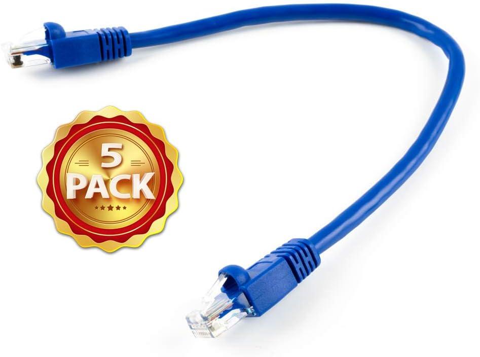 1ft CAT6 Ethernet Network LAN Patch Cable Cord 550MHz RJ45 Blue BattleBorn 5 Pack Lot