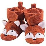 Hudson Baby Cozy Fleece Booties with Non Skid Bottom, Orange Fox, 6-12 Months