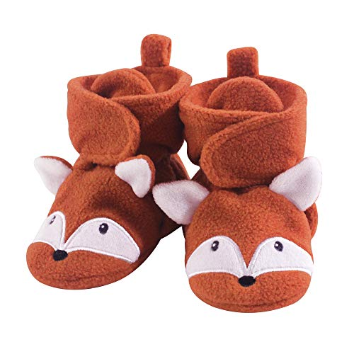 Hudson Baby Unisex Baby Cozy Fleece Booties, Orange Fox, 0-6 Months