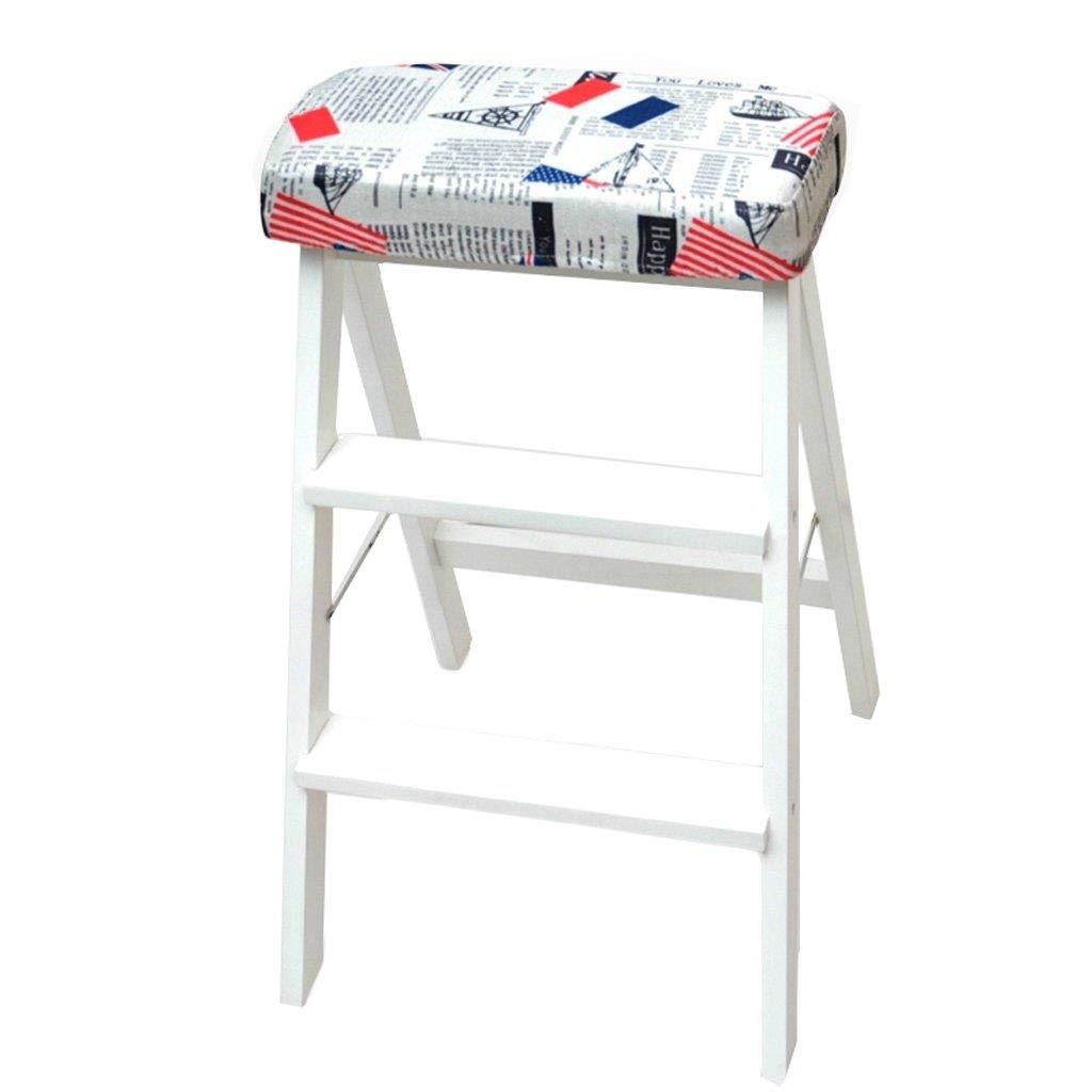 RMJAI Chaise pliante 2 étapes escabeau en bois massif pliable créativité multifonctions portable tabouret appliquer à la cuisine ménage 42x49x63 cm Escabeau multifonctionnel (Couleur    14)
