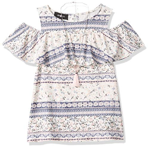 Abstract Blouse - Amy Byer Girls' Big Cold Shoulder Knit Top with Necklace, Navy/Rose Abstract Floral & Geo Stripe L