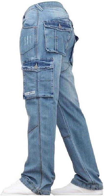 cheelot Men's Big & Tall Stone Washed Cargo Work Loose-Fit Denim Slim-Straight Jean