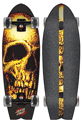 Santa Cruz Night Creeper Shark 8.8x27.7 Glow Wheels Skateboard Complete - Shark Complete Skateboard
