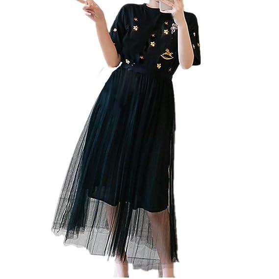 Vestido Simple De Verano Con Cuello Redondo Vestido De Falda