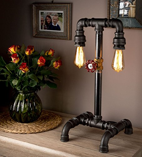 Vintagelampe im Retrolook und Rohrleuchte - das perfekte Steampunk-Möbelstück für das Wohnzimmer - LUXMA
