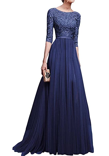 06bddb2f2ee3 Donna Chiffon Vestito Lungo Abito da Cerimonia Elegante Vestiti da  Matrimonio Lunghi Vestito Formale Banchetto Sera Blu 3XL  Amazon.it   Abbigliamento