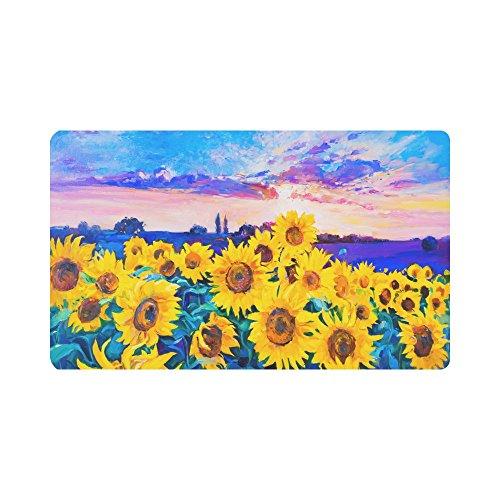 (InterestPrint Sunflowers Oil Painting Non-Slip Indoor And Outdoor Door Mat Rug Home Decor, Entrance Rug Floor Mats Rubber Backing, 30