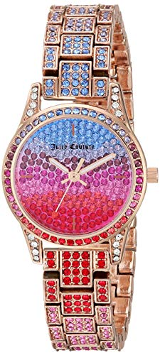 - Juicy Couture Black Label Women's Multicolored Swarovski Crystal Accented Rose Gold-Tone Bracelet Watch
