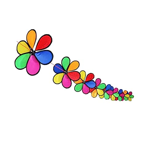 Zanny 10m Fordable Rainbow Flower Windmill String Whirligig Wheels Garden Camping Decoration