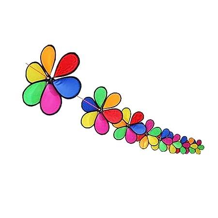 Kawn 10m Fordable Rainbow Flower Windmill String Whirligig Wheels Garden Camping Decoration