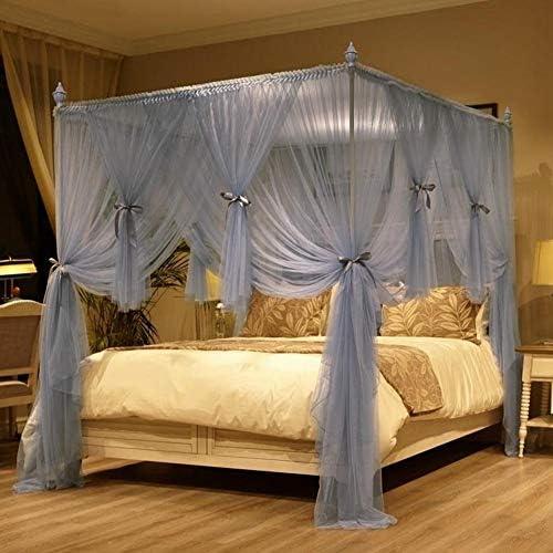 姫ベッドキャノピー,4コーナーポストベッドカーテン 3ステンレス鋼サポートとスターライトが付いている蚊のネットを開く-グレー