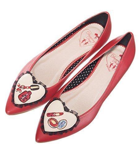 Banned Apparel Dancing Days Maquillaje Diseño PINTALABIOS Bailarinas Planas Zapatos de Mujer Negro - rojo