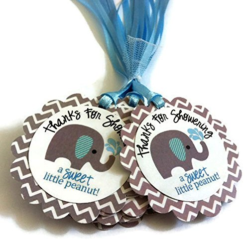 Thanks for Showering Elephant Favor Tags for Baby Boy Shower - Baby Boy Party Gift Tags - Set of 12