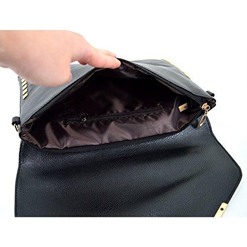 Handbag Shoulder Faux Purse Danse Clutch Wristlet Black Bag Rivet Envelope Jupe Stylish Leather x8PPqwYO0