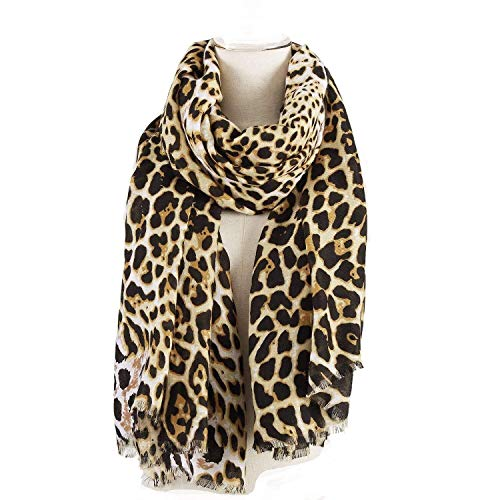 Leopard Pattern Scarf for Women Oversized Animal Print Sunscreen Shawl Wraps - 75 X 40 Inches by AIWANK