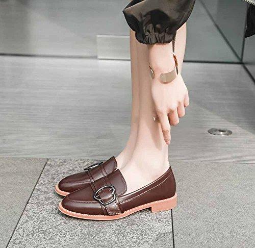 Mary Corte Jane Zapatos Mujer Hebilla Diseño Brown Plano Zapatos Británico Nuevo Casual 2018 Primavera Cuero 5ggqOx7