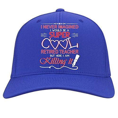 I Never Imagined Cap, Super Cool Retired Teacher Hat (Royal)
