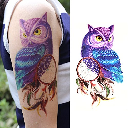 Temporary Tattoo Purple Package (Oottati Dream Catcher Purple Owl Thigh Temporary Tattoo)
