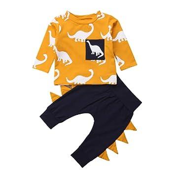 45e7cd5447602 Sylvamorning ベビー パジャマ 男の子 女の子 ルームウェア ホームウェア 長袖 恐竜プリント Tシャツ&パンツ