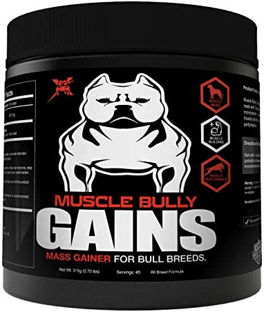 Muscle Bully Gains – Mass Weight Gainer, Whey Protein for Dogs Bull Breeds, Pit Bulls, Bullies Increase Healthy Natural Weight, Made in The USA 45 Servings Trial Size