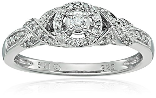 Sterling Silver Diamond Engagement Ring (1/5carat, I-J Co...
