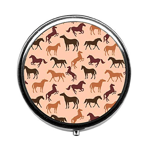 A887 Case - Pill Box 3 Times a Day,Horse Travel Pill Case Round Pill Box with Mini Makeup Mirror Diameter 4.5 cm