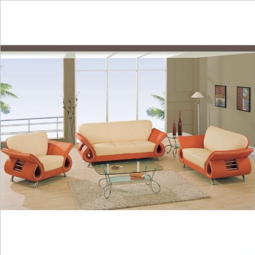 Global Furniture USA Charles Leather Living Room Set in Beige & Orange
