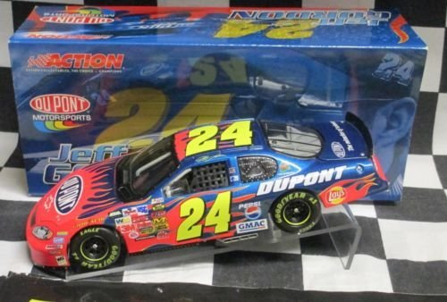 - 2004 Jeff Gordon #24 Dupont Flames 1/24 Scale Monte Carlo Action Racing Collectables ARC Hood Opens, Trunk Opens HOTO Limited Production