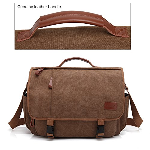 CoolBELL Messenger Bag 15.6 Inch Canvas Briefcase Vintage Shoulder Bag Laptop Case Mens Handbag Business Briefcase Multi-Functional Travel Bag for Men/Work / College/Student (Coffee) by CoolBELL (Image #5)