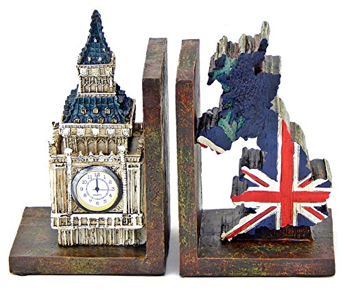 British Clock - Bellaa 26348 British Patriots Bookends Big Ben Clock Tower UK Flag