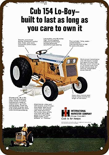 (onepicebest 1970 International Harvester Cub 154 Lo-Boy Lawn Mower Vintage Look Metal Sign 7