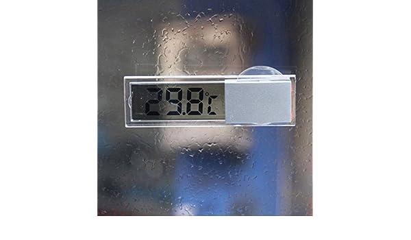 Term/ómetro Digital para Coche con Ventosa para Interior y Exterior Liamostee