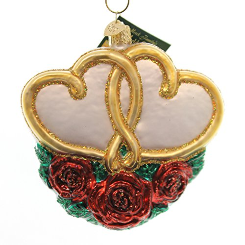 - Old World Christmas Entwined Hearts Glass Love Anniversary Ornament 30023 Gold