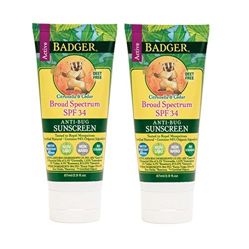 Badger SPF 34 Anti-Bug Sunscreen Cream with Organic Citronella, Lemongrass, Cedar, and Rosemary, 2.9 fl. oz. (Pack of 2)