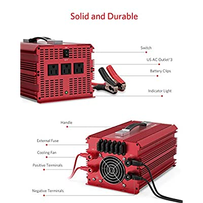 BESTEK 2000W Power Inverter 3 AC Outlets DC 12V to 110V AC Car Power Converter for Camping Outdoor Power Supply ETL Listed: Electronics