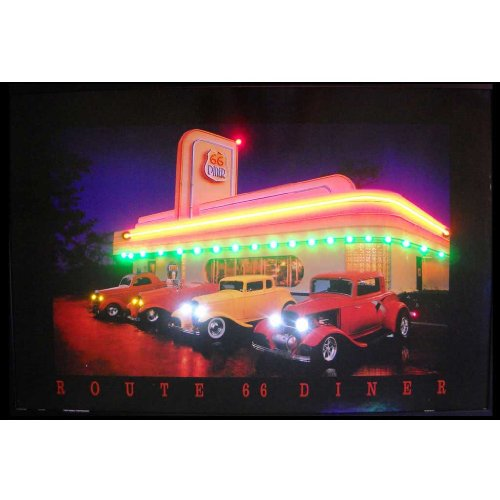 Neonetics Route 66 Diner Neon LED Lighted Framed Vintage Advertisement Wall Art