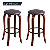 Cheap TAVR PU Leather Bar Stool Retro Style Counter Height Set of 2,Heavy Duty,Brown,SC1005