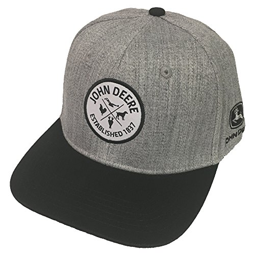 John Deere Brand Grey High Profile w/Suiting Fabric Snapback Hat - 13080465BK, Grey